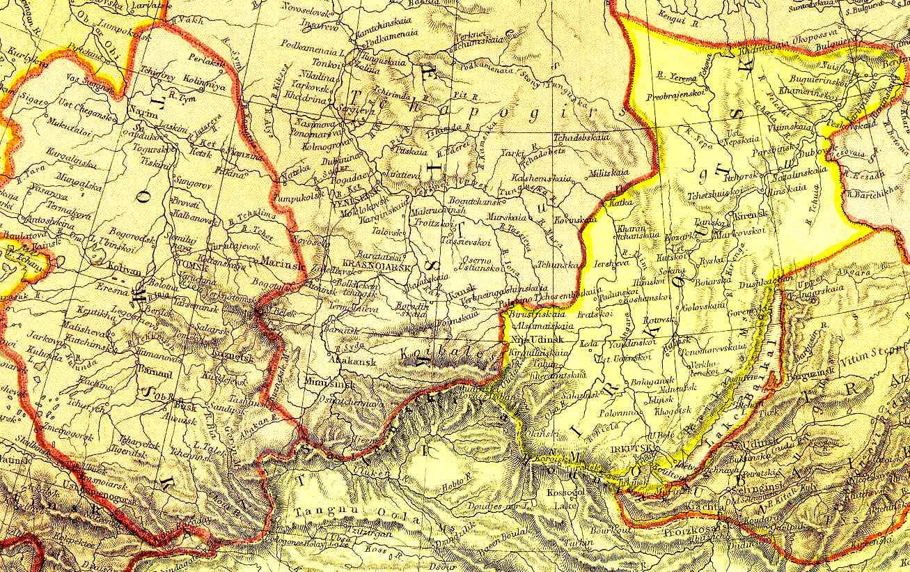Карта Восточной Сибири (1882) .
